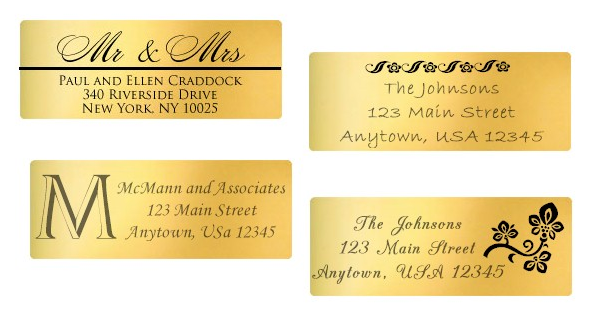 Gold Foil Address Labels : Personalized With Your Address